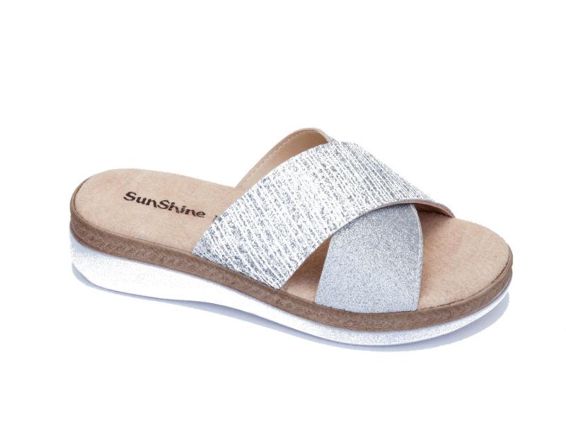 c4340d4215c -16% Anatomic Footwear Ανατομικό γυναικείο δερμάτινο ασημί σανδάλι Sunshine  (2525)